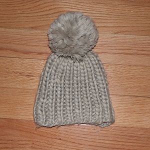 Chunky knit taupe/light gray beanie